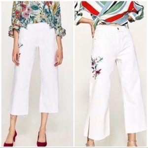 NWT Zara Embroidered White Wide Leg Jeans 2